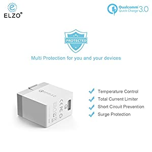 Elzo Quick Charge 3.0 18W USB Wall Charger Adapter Fast Portable Charger With A 3.3ft Rapid Quick Charge Micro USB Cable For Samsung Galaxy/Note, LG Flex2/V10/G4, Nexus 6, Motorola Droid/X, White