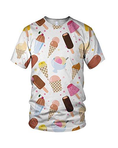 All Over Print Ice Cream Ladies Fashion T Shirt, M
