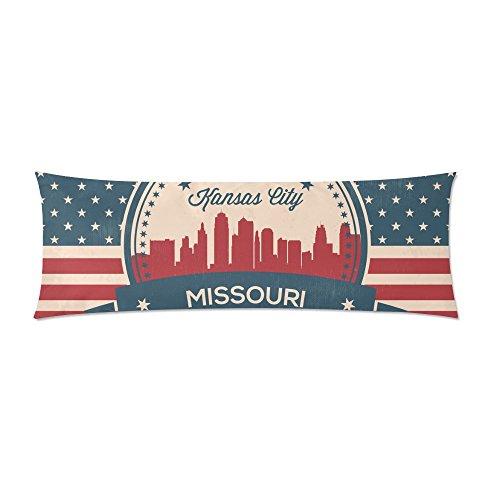 - Vintage American Flag Missouri State Kansas Skyline Body Pillow Cover Decorative Case Pillowcase 21x60 Inch
