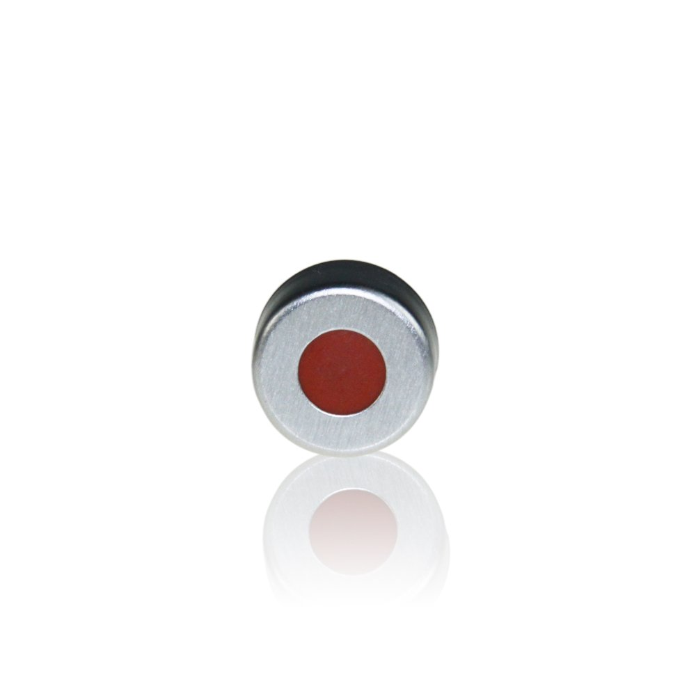 ALWSCI Aluminum Silver Crimp Seals with Clear PTFE/Red Rubber Septum, Cap Size 11mm Pack of 100