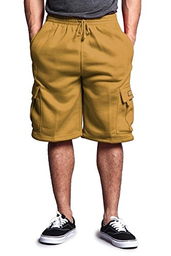 Victorious G-Style USA Men's Solid Fleece Cargo Shorts DFP1 - Wheat - 2X-Large by Victorious