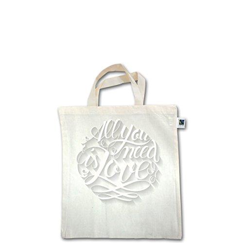 Statement Shirts - All you need is love Lettering - Unisize - Natural - XT500 - Fairtrade Henkeltasche / Jutebeutel mit kurzen Henkeln aus Bio-Baumwolle