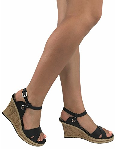 Image of Vannessa Wedge Espradrille Sandal Cork Mid Platform Heel Ankle Wrap Strap