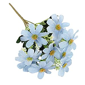 Flameer 5 Branch 10 Heads Artificial Silk Fake Cosmos Flowers Wedding Floral Decor Bouquet, Artificial Daisy Bouquet - Blue 12