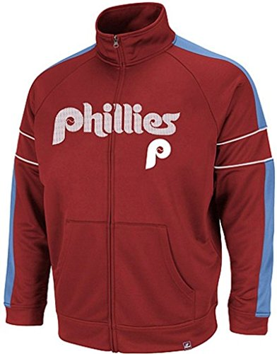 VF Philadelphia Phillies MLB Mens Cooperstown Majestic Field Track Jacket Maroon Big & Tall Sizes (MT)