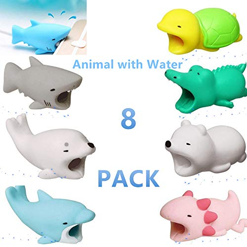 (YMH Cable Protector for iPhone iPad Cable Android Samsung Galaxy Cord Plastic Cute Sea Animals Phone Accessory Protects USB Charger Data Protection Cover Chewers Earphone Cable Bite 8Pack (GSDBACTP))