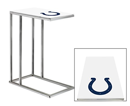 Team Under Logo Glass (Chrome Finish Slide-Under TV Tray with a Frosted Glass Table Top with Your Choice of a Football Team Logo (Colts))