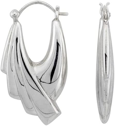 Sterling Silver Creole Half Scalloped Hoop Omaha Mall outlet for Women Earrings Cl