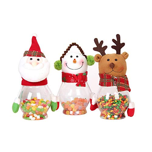 Christmas Gifts Candy Accessories Box Jar Set of 3 pcs, for Christmas Snowman Santa Elk Small Clear Plastic Cookie Chocolate Ornaments Container Christmas Children Candy Gift Card Jar