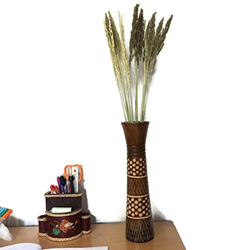 Mango wood Vase of Thai craftsmanship By Carving patterns Minuteness Beautiful local in Thailand by TooToneDecor