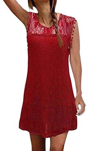 Crochet Sleeveless Crochet Dresses Jaycargogo Women's Flower Lace Red Elegant xpOpqwzY