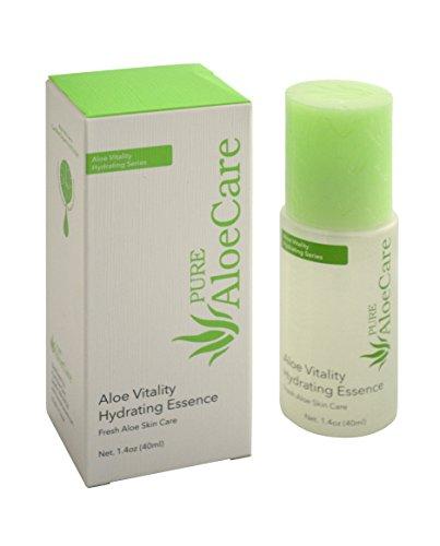 PURE AloeCare Organic Aloe Vera Vitality Hydrating Essence, Penetrates Skin Deeply with Essential Moisture and Skin Loving Botanical Nutrients for All Day Moisture,1.4 oz (Brightening Botanical Moisture)
