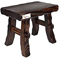 Geboor Wood Foot Stool Waterproof Anti Corrupt Carbonized Material Free Assembly Dark Brown