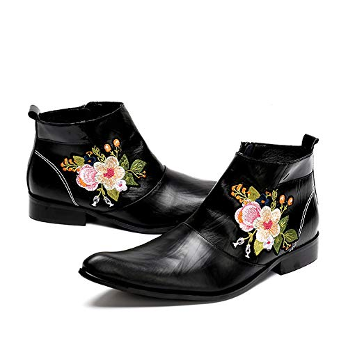 Botines Zpl Black 39 Clásico Ue 46 Cuero Botas Boots De Tamaño Bordado Flor Zapatos Hombres Negro Fiesta Noche Vaquero fwxFErw4q
