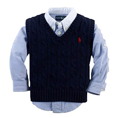 RALPH LAUREN Polo Boys V-Neck Cable Knit - Boys Lauren Vest Sweater Ralph