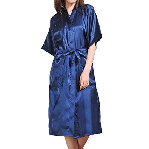 Hibote Accappatoio In Kimono Night Long Solid Robe Blu Dressing Satin Scuro Gown Sexy Fashion Seta Sintetica rr8v0
