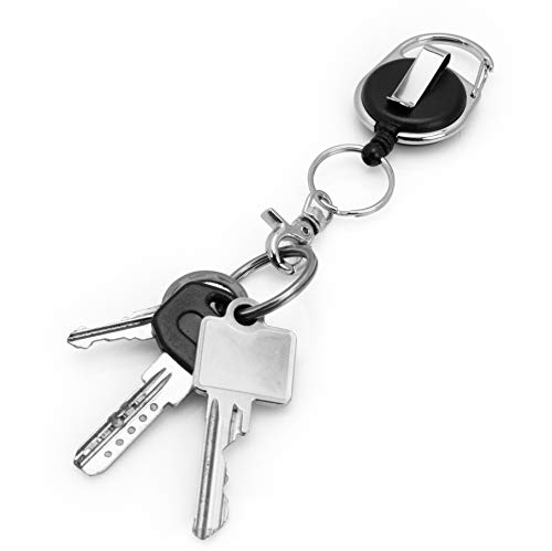 Porte-clés yoyo, Porte-badge yoyo avec ressort renforcé et cordon résistant  de BE-HOLD avec clip de ceinture, anneau porte-clés et languette en textile  ... 88d9a05be31