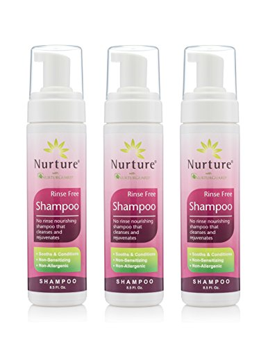 No Rinse Shampoo by Nurture | Rinse Free Shower Cap Alternative - Foaming Pump Bottle - Waterless Nourishing Foam Shampoo that Cleanses and Rejuvenates - 3 Bottles - 8.5 fl - Shampoo Free Rinse