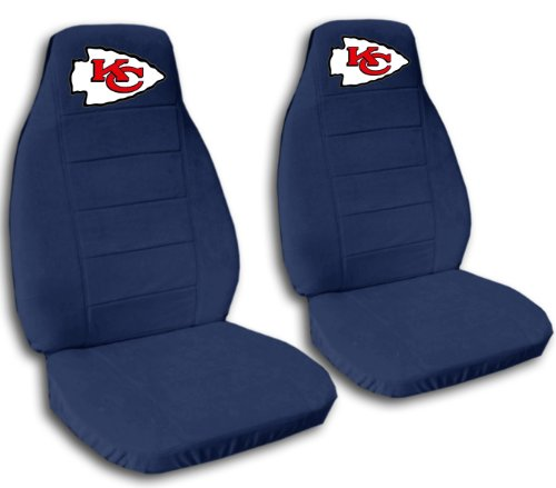 2 Navy Blue Kansas City seat covers for a 2007 to 2012 Chevrolet Silverado. Side airbag friendly. by Designcovers