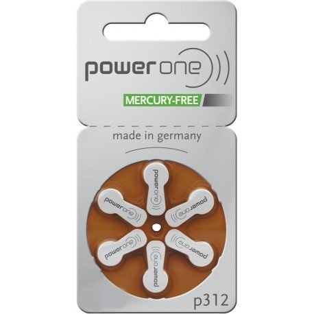 PowerOne Mercury Free Hearing Aid Batteries Size 312 - Pack of 120 + Free Battery Caddy by PowerOne