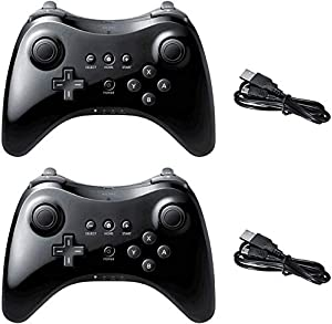 Poulep Wireless Controller Compatible with Wii U Pro Console Dual Analog (Black and Black)