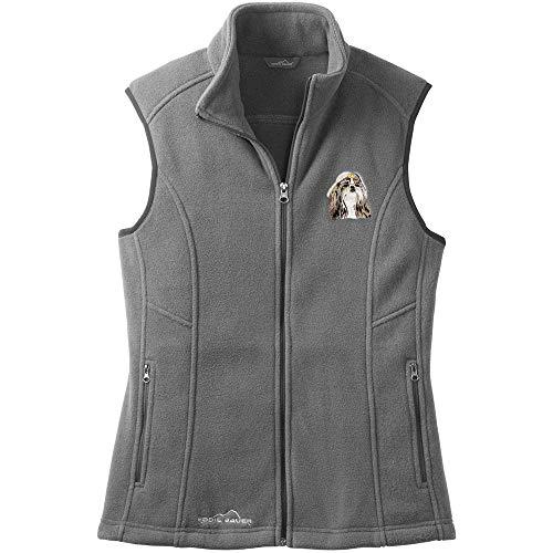 Cherrybrook Dog Breed Embroidered Womens Eddie Bauer Fleece Vest - XX-Large - Gray Steel - Shih Tzu