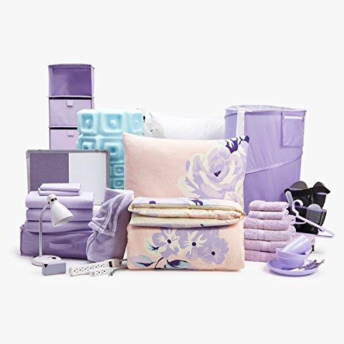 College Dorm Room Bedding & Essentials Value Bundle - 60 Piece Twin XL (Merci Bouquet/Lilac)