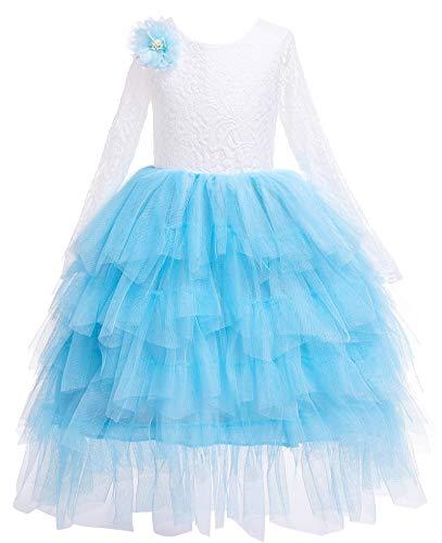 Kokowaii Fancy Girls Lace V Back Flower Dress Tutu Tulle Party Dress Toddler Fancy Dress Light Blue -