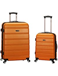 Luggage 20 Inch 28 Inch 2 Piece Expandable Spinner Set Plus, Orange, One Size