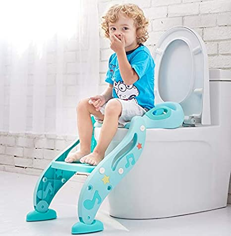 Potty Training Seat of Kids, Toddlers Step Ladder Toilet with Safety Handles Non Slip Steps (Aqua) Happy Baby