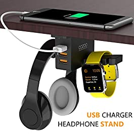 Headphone Stand with USB Charger COZOO Under Desk Headset Holder Mount with 3 Port USB Charging Station and iWatch Stand…