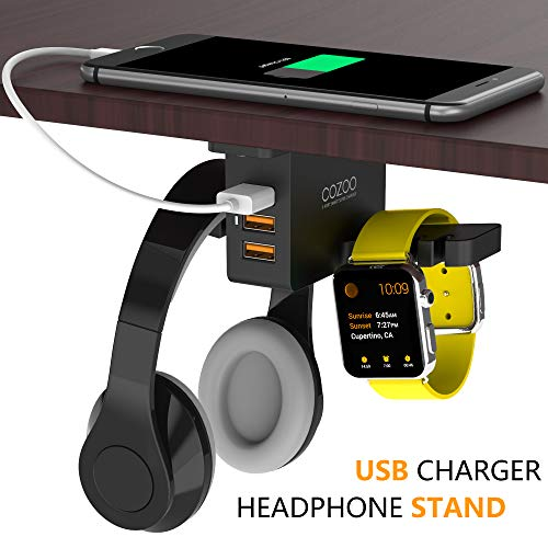 Headphone Stand with USB Charger COZOO Under Desk Headset Holder Mount with 3 Port USB Charging Station and iWatch Stand Smart Watch Charging Dock Dual Earphone Hanger Hook,UL Tested ()
