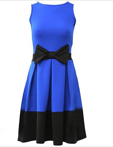 PU&PU Robe Aux femmes Trapèze Simple,Couleur Pleine Col Arrondi Mi-long Polyester , blue-l , blue-l