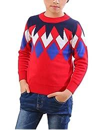 MFrannie Boys Argyle Plaid Crew Neck Long Sleeve Thick Knits Sweater