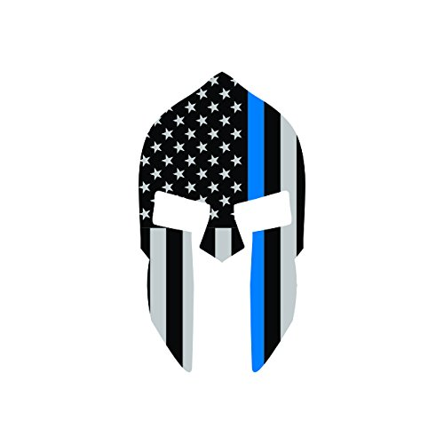 Thin-Blue-Line-Subdued-Spartan-Helmet-American-Flag-Sticker-Self-Adhesive-Vinyl-Decal-FA-Graphix-Vinyl-Law-Police