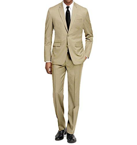 MDRN Uomo Men's Slim Fit 2 Piece Suit, Tan, Size 40R/34W ()