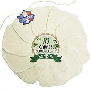 10 Cotons démaquillants lavables en Bambou - Fabrication française : Soutenez vos entreprises locales - Au fil de la Beauté - Carrés réutilisables et écologiques - Double épaisseur 2