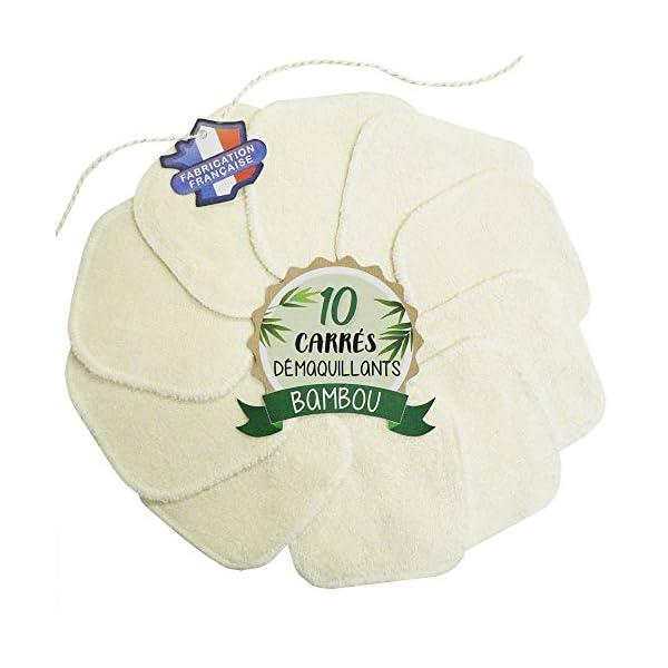 10 Cotons démaquillants lavables en Bambou - Fabrication française : Soutenez vos entreprises locales - Au fil de la Beauté - Carrés réutilisables et écologiques - Double épaisseur 1
