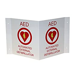 First Voice TS-150P AED Wall Sign V Shaped 3D projecting, Plastic, White/Red