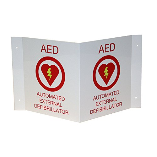 First Voice TS-150P AED Wall Sign V Shaped 3D projecting, Plastic, White/Red by First Voice