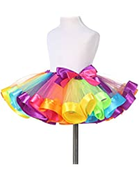 9df6b85ba9ff Little Girls Layered Rainbow Ribbon Tutu Skirt Dress Ballet Tiered (Medium  4-6 years