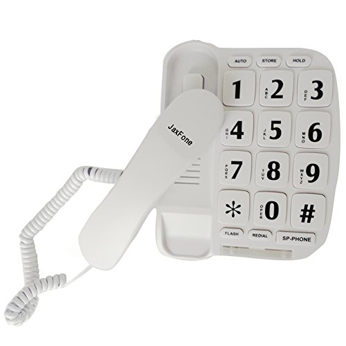 JaxFone JF11W Big Button Corded Phone for Elderly Amplified Phones for Hearing Impaired Seniors with Loud Handsfree (Amplified Corded Big Button Phone)