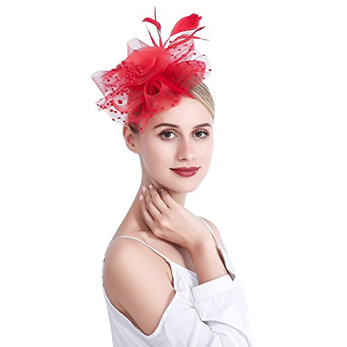 00459ec6b8e 10 · inSowni Vintage 1920S Fascinator Flower Hat Feather Mesh with Headband  Clip for Women Girls (Red