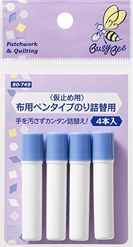 KAWAGUCHI Busy Bee tacking for fabric for pen type glue Refill 4 bottles - Refills Glue Pen