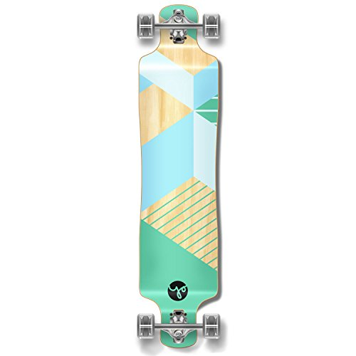 (Yocaher Geometric Series Longboard Complete Cruiser and Decks Available for All Shapes (Complete-Lowrider-Green) )