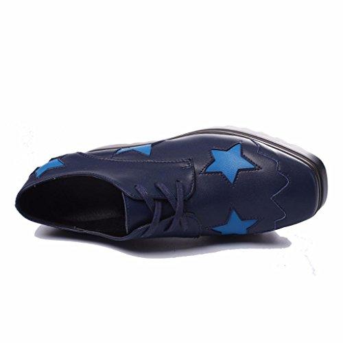 con Azul Cuero de Mujer Puntera Moonwalker Cuadrada en Zapatos Marino Cuña xAzARYw