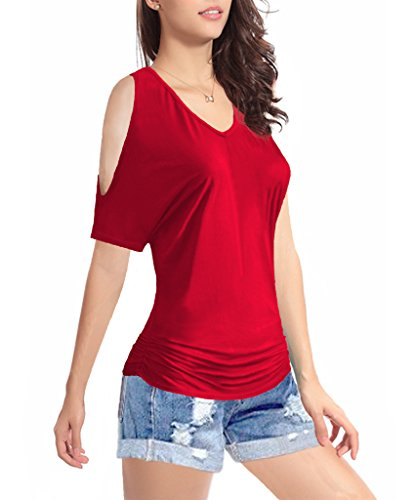 (Women's Short Sleeve Shirt V-Neck Drape Waist Blouse Tops (Small, Rosered))