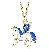Mio.oo Women Girls Unicorn Pendant Alloy Chain Necklace Jewelry Accessories Gift, Silver Color