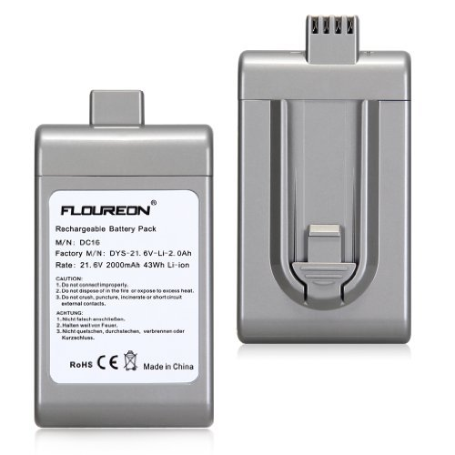 2000mAh Battery for Dyson DC16 Root 6 / ISSEY MIYAKE exclusive Vacuum Cleaners Replacement 912433-01, 912433-03, 912433-04, BP01 by Wmicro Silver