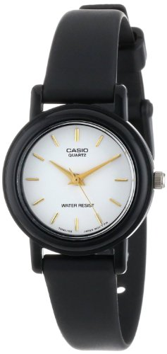 Casio Women's Classic Round Analog Watch, 3-Hand Analog Feature, and Water Resistant, White Face with Classic Round Design, and Resin Band